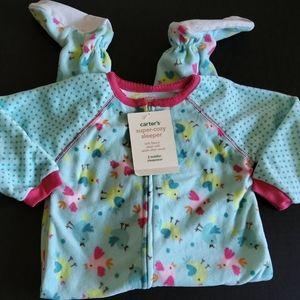 Carter's fleece zip-up footie onesie PJ size 2T